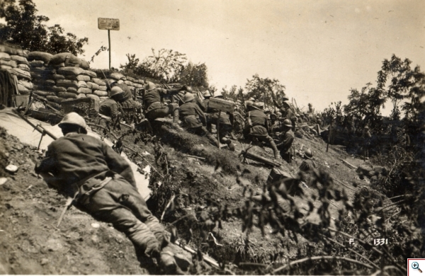 WWI Battle of the Piave River Italian position along the Piave river before the attack